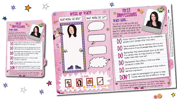 First Impressions activity sheet.