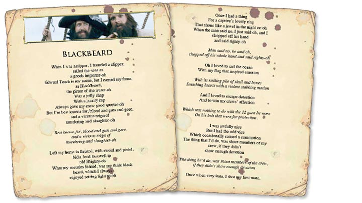Blackbeard song sheets on ancient parchments.