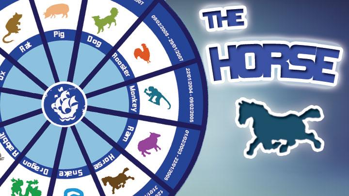 Zodiac calendar and horse text