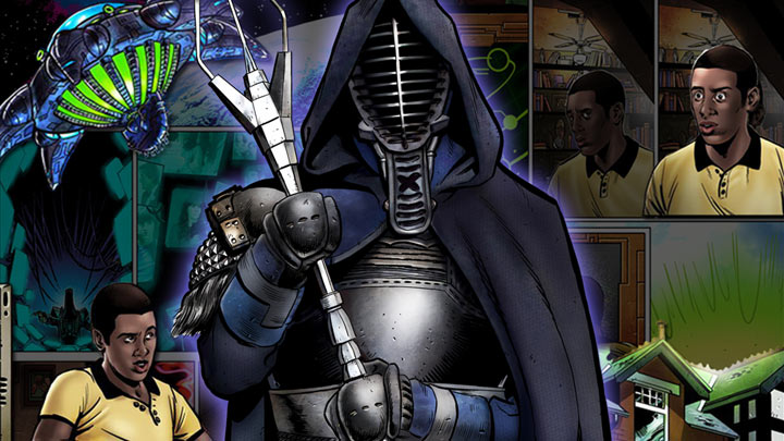 Comic book page in background with large comic book image of Dark Horde in front.