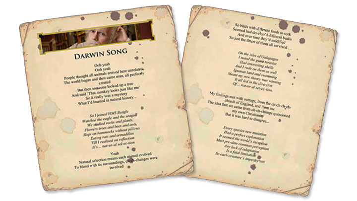 Screen grab of the Darwin Song Lyrics