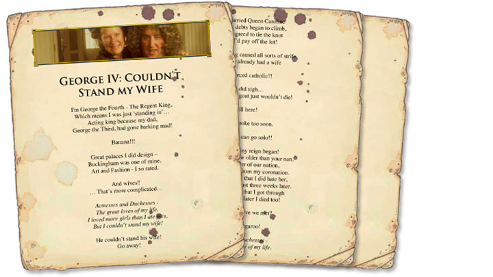 Paper song sheets for the George IV: Couldn't Stand My Wife lyrics.