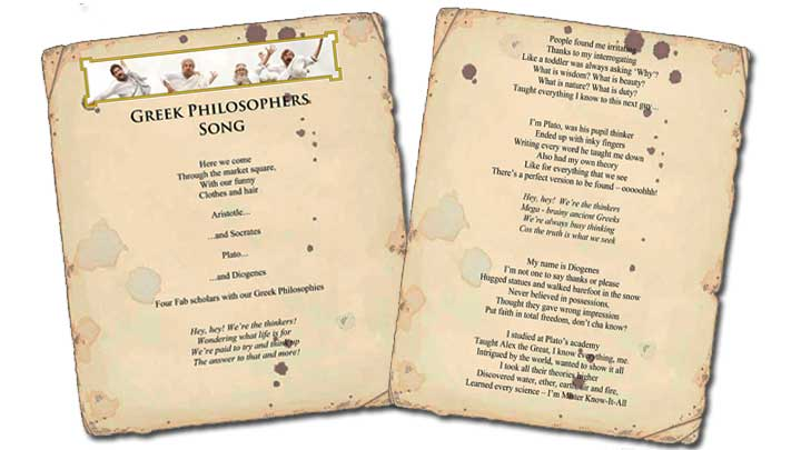 Screen grab of the Greek Philosophers Song Lyrics