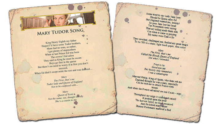 Screen grab of the Mary Tudor Song Lyrics