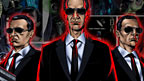 Comic book page in background with large comic book image of Men in Black Androids in front.