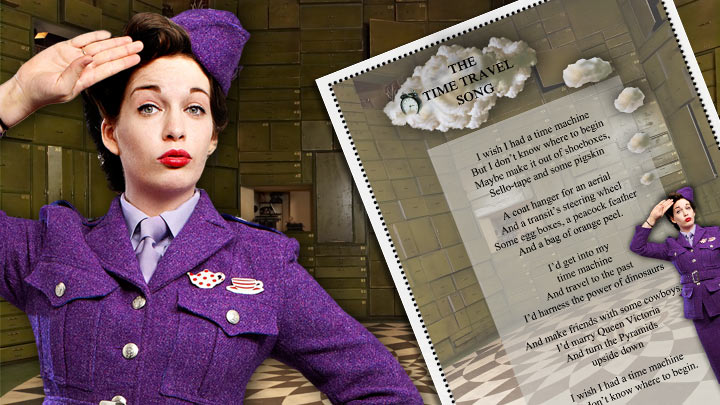 Miss Teaparty with the lyrics sheet.