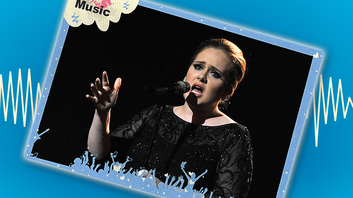 Adele poster on a blue background with a soundwave behind it.