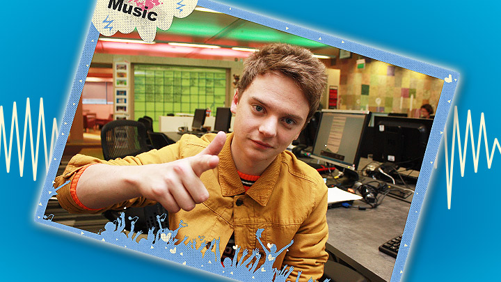 Conor Maynard poster on a blue background with a soundwave behind it.