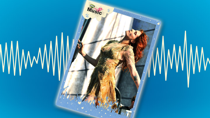 Florence Welch poster on a blue background with a soundwave behind it.