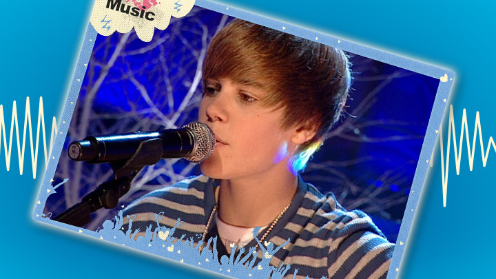 Justin Bieber poster on a blue background with a soundwave behind it.