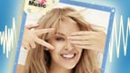 A poster of Kylie Minogue smiling.