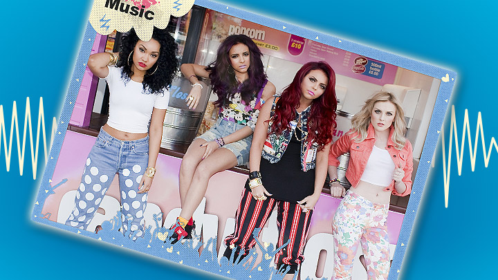 Little Mix poster on a blue background with a soundwave behind it.