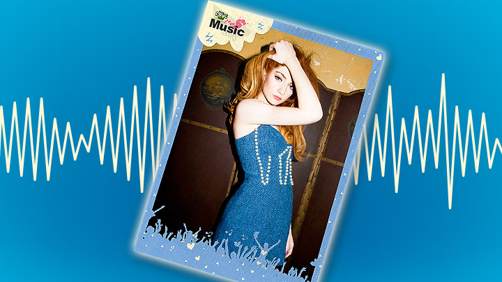 Nicola Roberts poster on a blue background with a soundwave behind it.