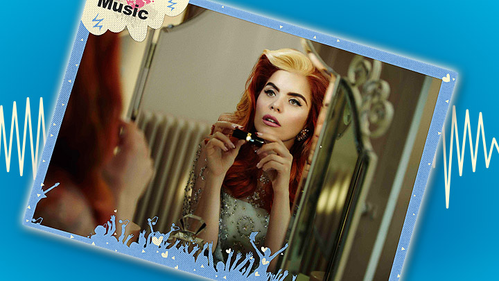 Paloma Faith poster on a blue background with a soundwave behind it.