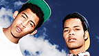Rizzle Kicks poster on a blue background with a soundwave behind it.