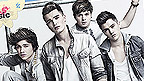 Union J sittling cool on scaffolding.