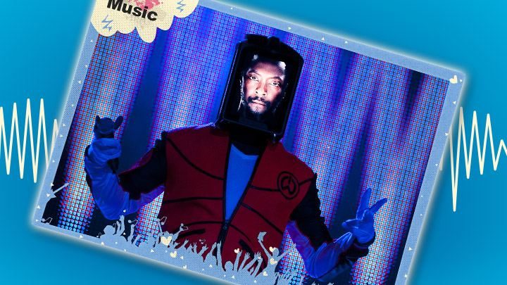 will.i.am poster on a blue background with a soundwave behind it.