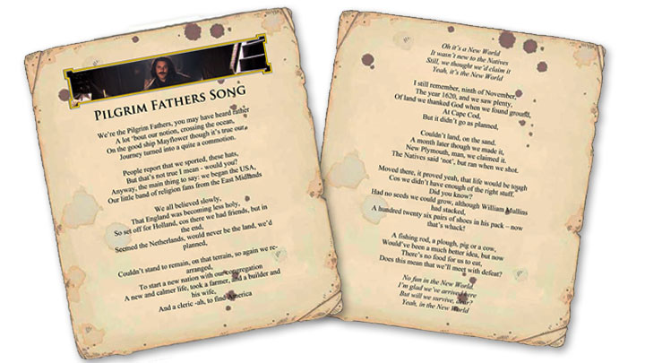 Screen grab of the Pilgrim Fathers Song Lyrics