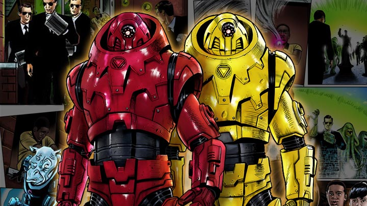 Comic book page in background with large comic book image of the red and yellow robots in front.