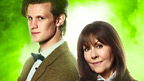 The Doctor and Sarah Jane standing side by side with arms folded.