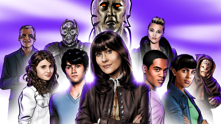 Comic art of the gang and aliens from series five