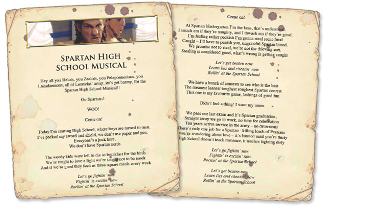 Paper sheets of the Spartan High School Musical song lyrics