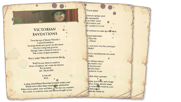 Paper sheets for The Victorian Inventions song lyrics