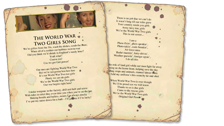 Paper sheets for The World War Two Girls Song lyrics.