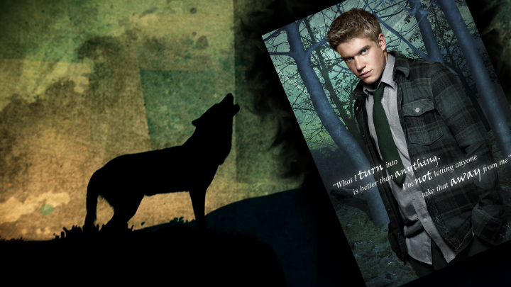 Rhydian standing in front of a forest background with howling wolf.