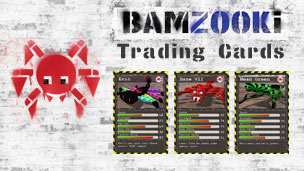 Three Bamzooki Trading Cards