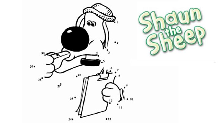 Shaun the Sheep dot-to-dot of Bitzer the Dog.
