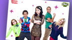 Dani Harmer pointing at the Dani's House Goodbye Poster.