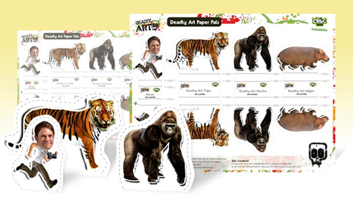 Steve Backshall, Tiger and Gorilla Paper Pals with Deadly Art Paper Pals printout sheet.