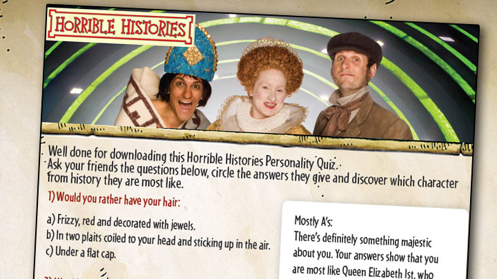 the Horrible Histories Personality Quiz printout.