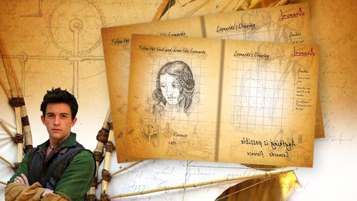 Teenage Leonardo da Vinci and the Leonardo Notebook printout.