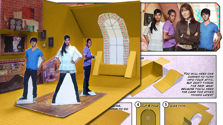 Model of the SJA attic with Luke, Clyde and Rani Paper Pals. And create and make instructions in the background.