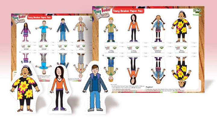 A pack of Tracy Beaker cut-out paper toys
