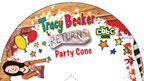 Colourful Tracy Beaker Returns party cone.