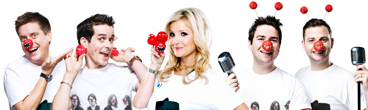 Dick 'n' Dom, Helen Skelton and Sam and Mark dressed in Red Nose Day t-shirts