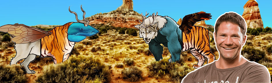 Steve and 2 animals created with the combinator on a desert background.