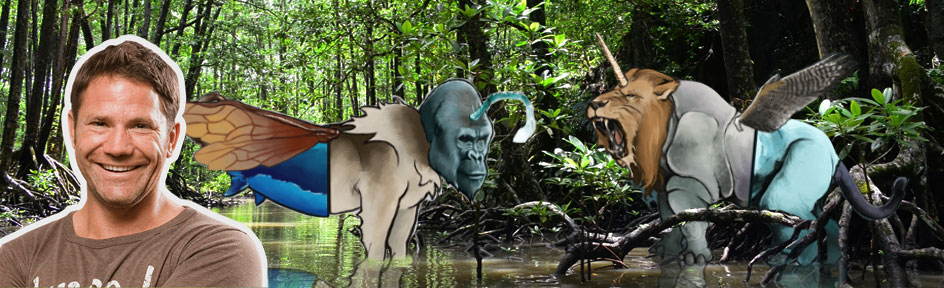 Steve and two mystical creatures on a jungle background.