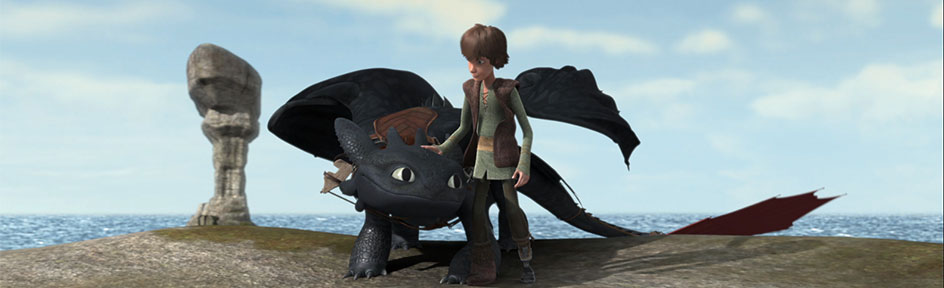 Hiccup and Toothless showing off their rescue skills.