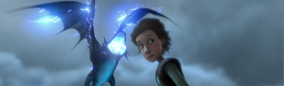 Hiccup and a Skrill dragon.