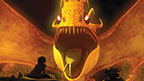 Hiccup is faced with the Fireworm Queen.