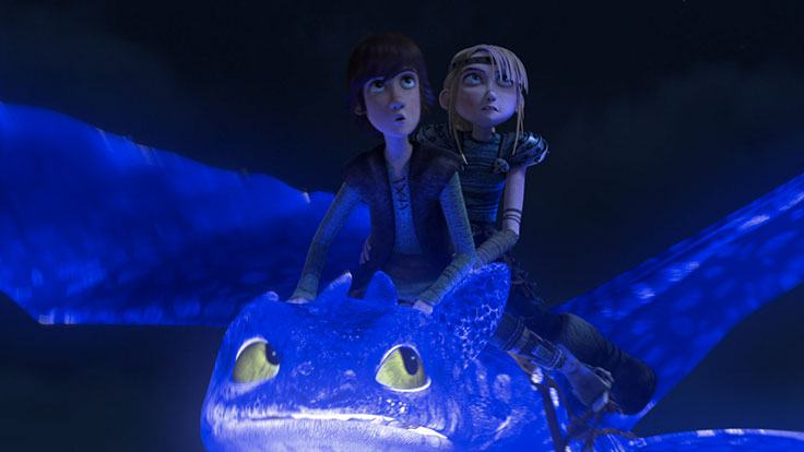 Hiccup and Astrid looking worried.