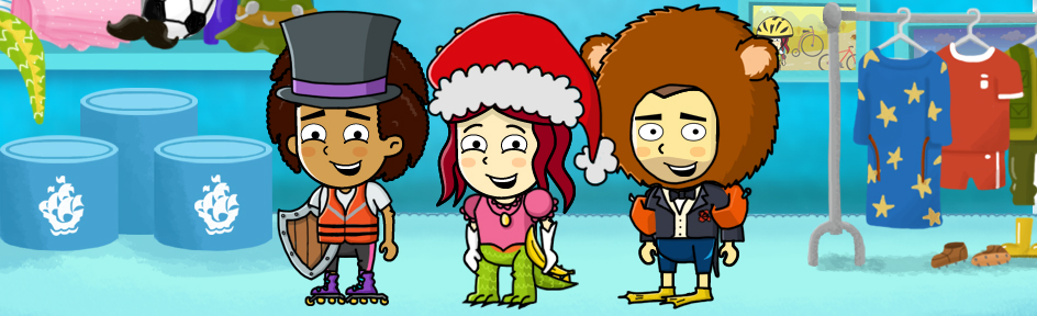 Radzi, Barney and Lyndsey in funny outfits.