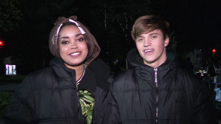 Dionne and George on the Friday Download Movie set.