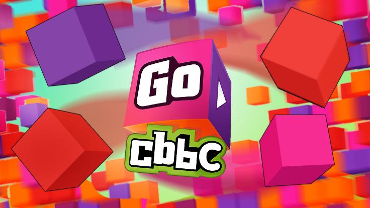 Go CBBC logo with colourful cubes.