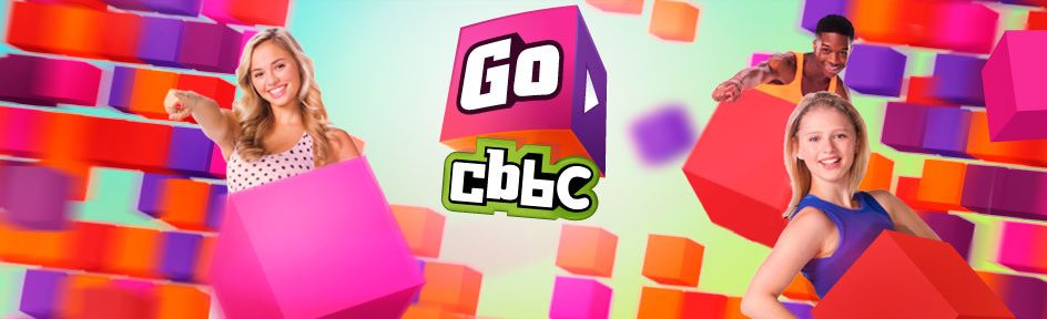Go CBBC logo and colourful cubes containing CBBC characters.