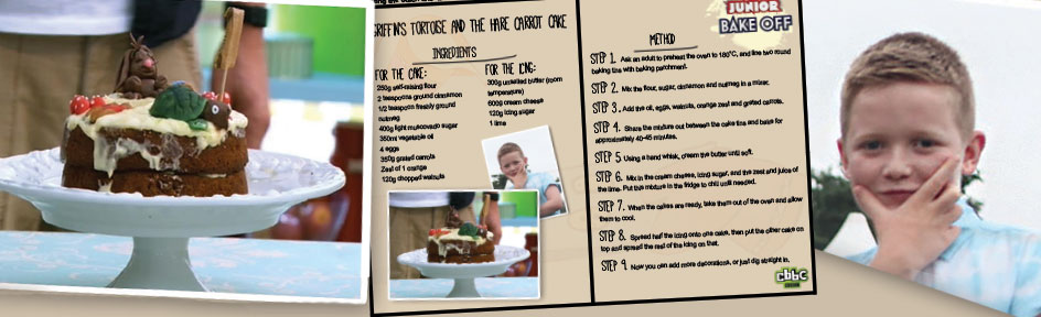 Young baker Griffin and his carrot cake recipe.